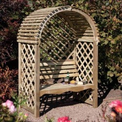 Victoria Arbour - Shaded Outdoor Seating - Natural Timber