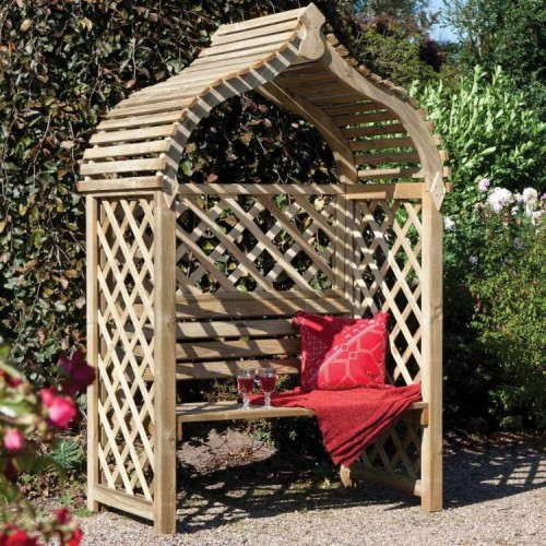 Jaipur Arbour - Shaded Outdoor Seating - Natural Timber