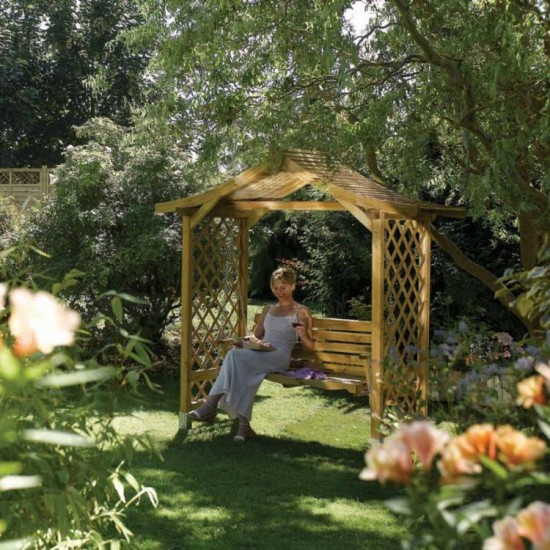 Dartmouth Sheltered Swing Seat - Natural Timber