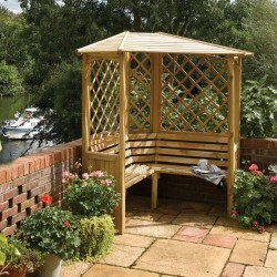 Balmoral Arbour Sheltered Corner Seating - Natural Timber