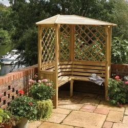 Balmoral Arbour Sheltered Corner Seating - Natural Timber