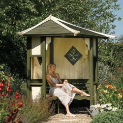 Haven Corner Arbour Outdoor Seating - Natural Timber