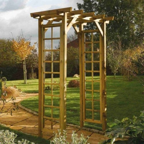 Square Top Arch Garden Furniture - Natural Timber