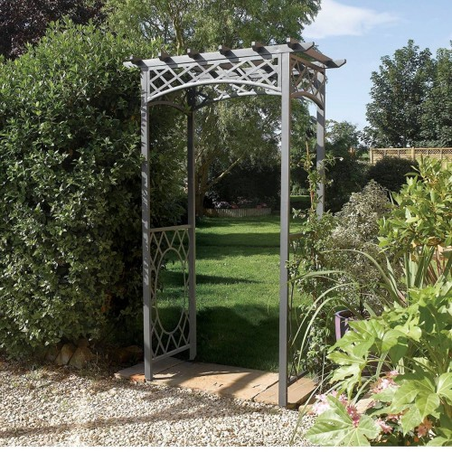Wrenbury Gunmetal Grey Arch Garden Furniture - Natural Timber