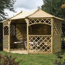 Sandringham Large 8 Sided Gazebo - Natural Timber