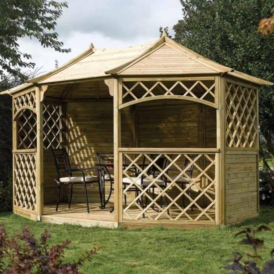 Sandringham Large 8 Sided Gazebo - Natural Timber