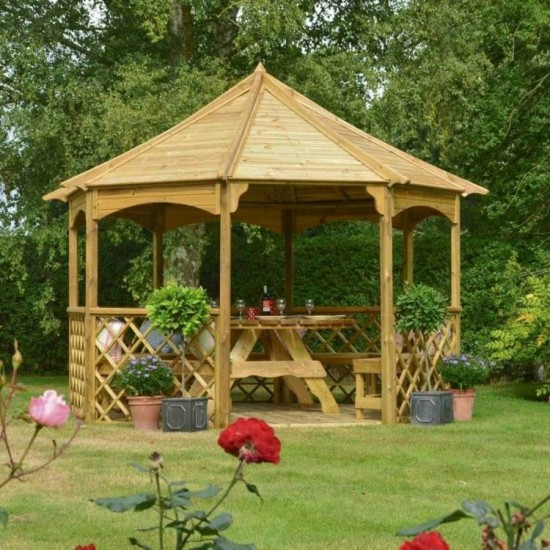 Buckingham Large 8 Sided Gazebo - Natural Timber