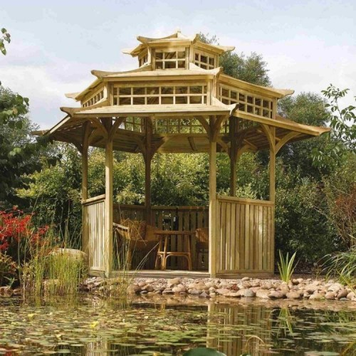 Large Oriental Pagoda Outdoor Shelter - Natural Timber