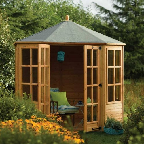 Ryton 8ft x 8ft Octagonal Summerhouse - Honey Brown