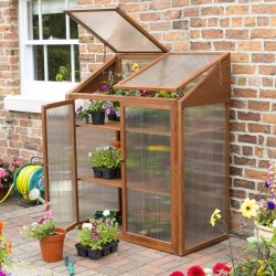 Hardwood Mini Greenhouse - Natural Timber