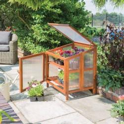 Hardwood Mini Coldframe Greenhouse - Natural Timber