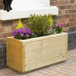 Ellesmere Rectangular Planter - Natural Timber