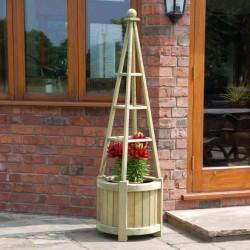 Marberry Obelisk Planter - Natural Timber