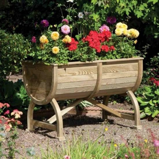 Marberry Barrel Planter - Natural Timber