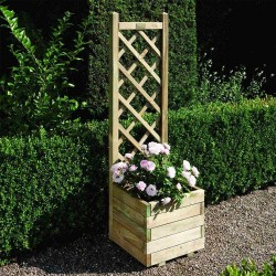 Square Planter & Lattice - Natural Timber