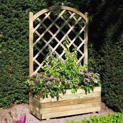 Rectangular Planter & Lattice - Natural Timber