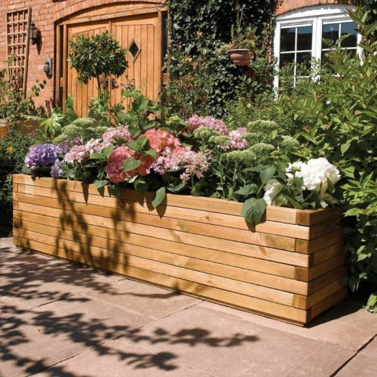 Large 1.8m Patio Planter - Natural Timber