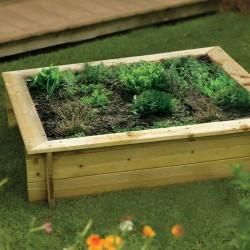 Raised 233L Bed/Sandpit - Natural Timber