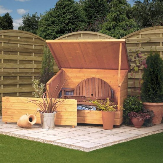 Garden Chest with Lifting Roof - Dipped Honey Brown