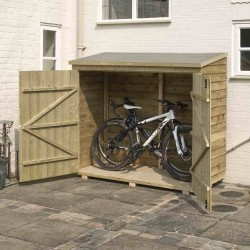 Overlap Wallstore for Bikes And Gardening Equipment - Natural Timber