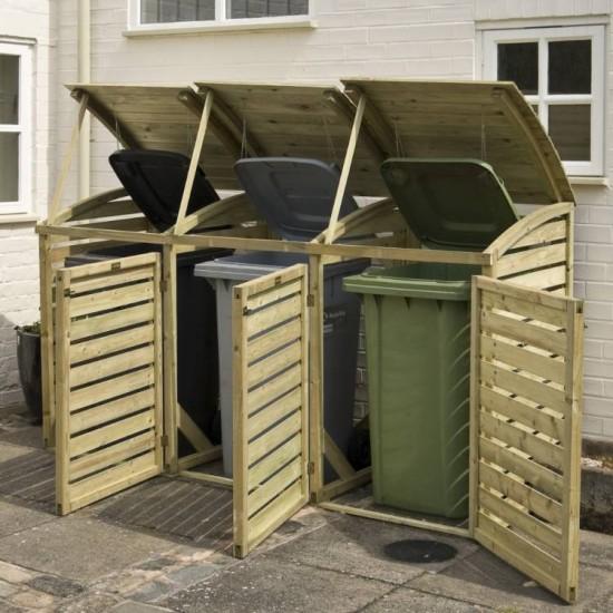 Triple Outdoor Waste Bin Storage - Natural Timber