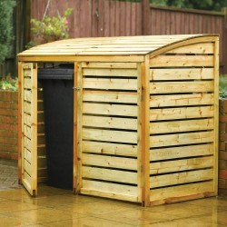 Double Outdoor Bin Storage - Natural Timber