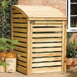Single Outdoor Waste Bin Storage - Natural Timber