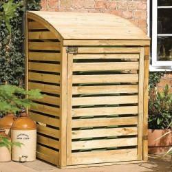 Single Outdoor Waste Bin Storage - Natural Timber
